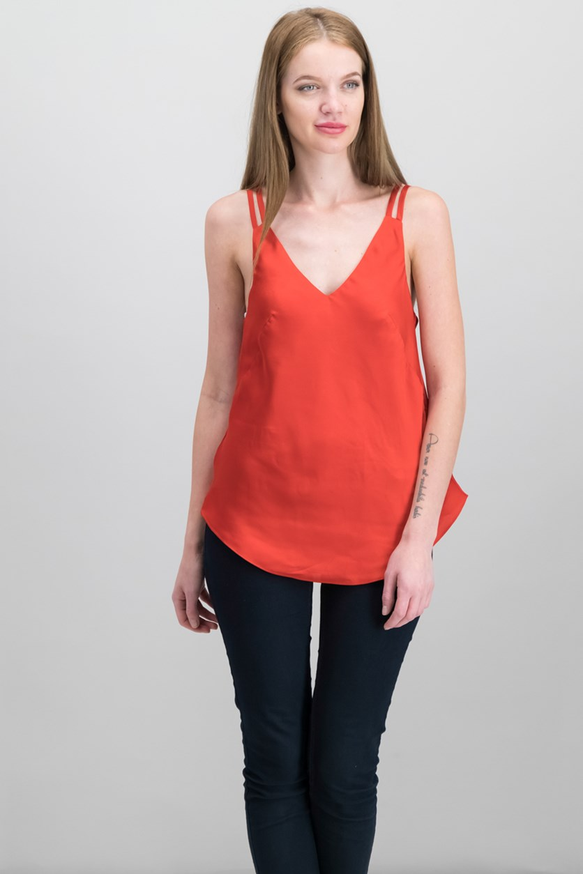 Erica Satin Tank Top, Lava