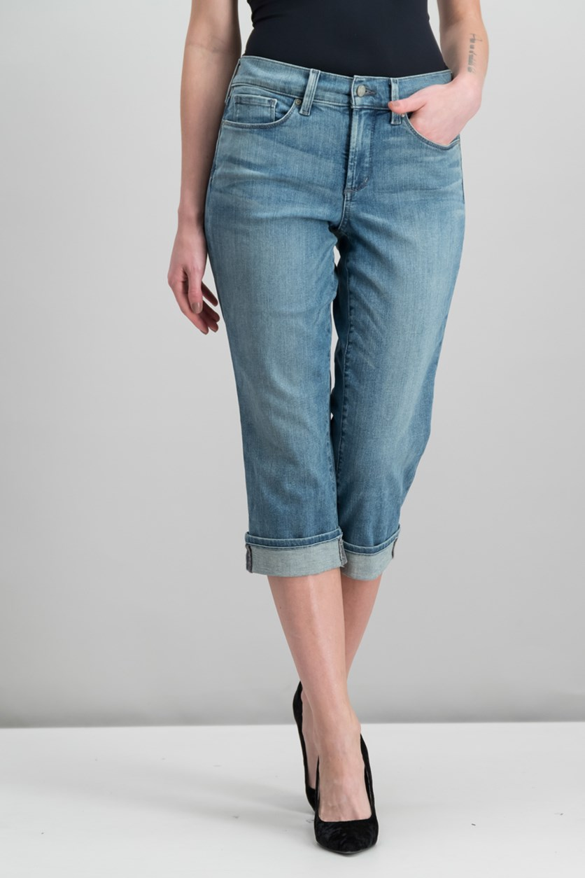 Marilyn Tummy-Control Crop Jean with Cuff, Pacific