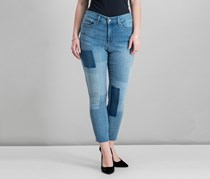 Nydj Alina Two-Tone-Patch Ankle Skinny Jeans, Blue