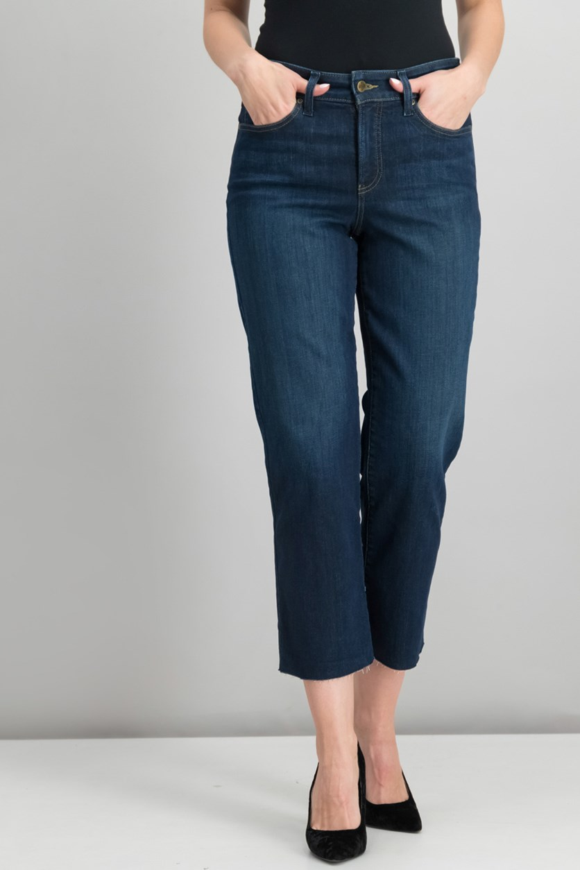 Jenna Tummy-Control Straight-Leg Ankle Jeans, Blue