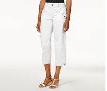 Tab-Pocket Capri Pants, Bright White
