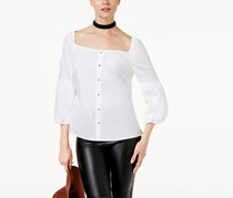 International Concepts Women's Balloon Sleeve Blouse, White