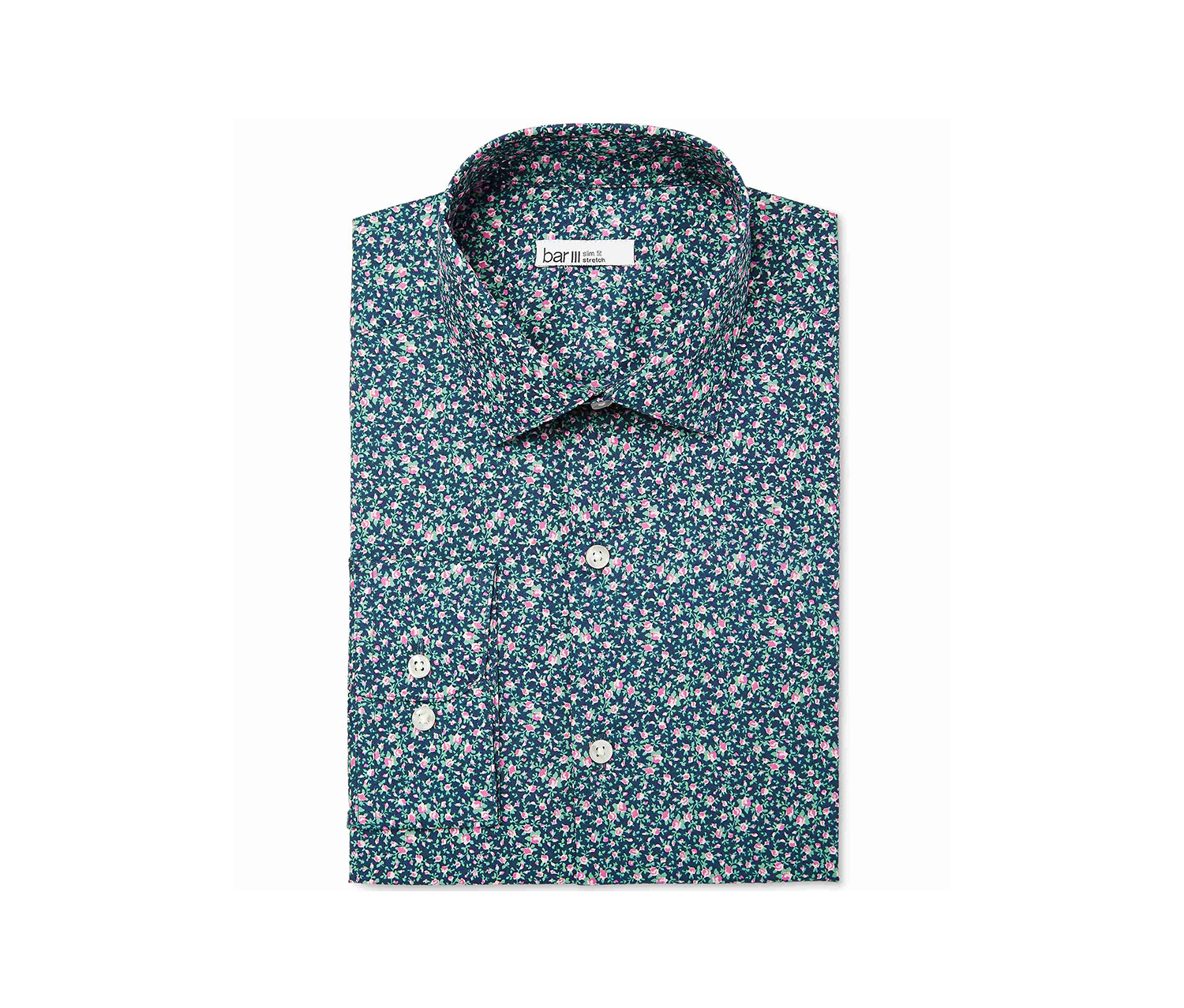 Men's Floral Print Dress Shirt, Navy/Pink