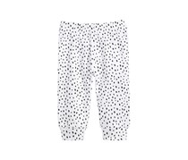 Little Girls Spotted Cotton Jogger Pants, Bright White