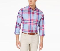 Club Room Mens Plaid Button Up Shirt, Pale Ink Blue Combo