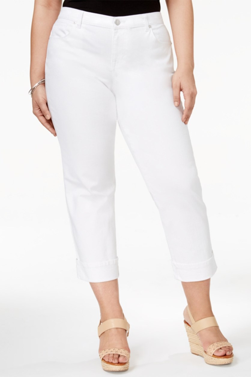Plus Size Cuffed Capri Jeans, Bright White