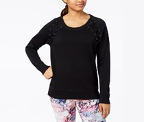 Material Girl Juniors Lace-Up Sweatshirt, Noir