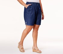 Karen Scott Plus Size Drawstring Shorts, Twilight Wash