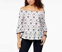 Style & Co Petite Cotton Embroidered Off-The-Shoulder Top, Bright White