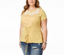 International Concepts Womens Plus Corset Embroidered T-Shirt, Polished Gold