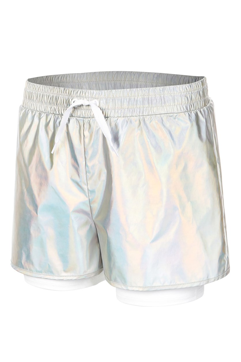 Metallic Layered-Look Shorts, Silver