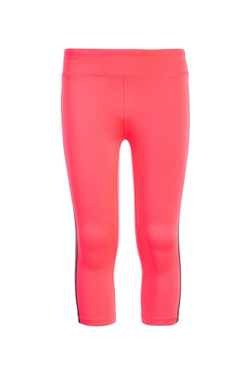 Striped-Side Capri Leggings, Flamingo Pink