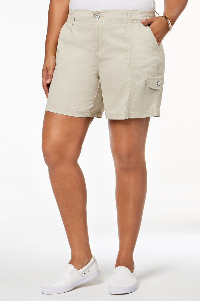 . Plus Size Mid-Rise Comfort Waist Cargo Shorts, Stone Wall