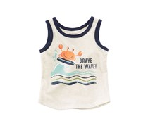 First Impressions Wave-Print Tank Top, Heather Dune