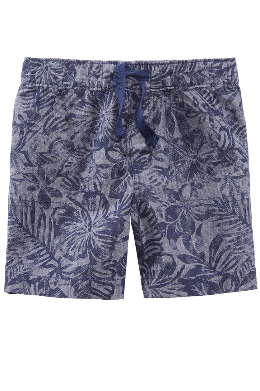 Printed Cotton Shorts, Navy Chambray