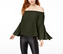Bar III Women's Off-The-Shoulder Bell-Sleeve Top, Dusty Olive