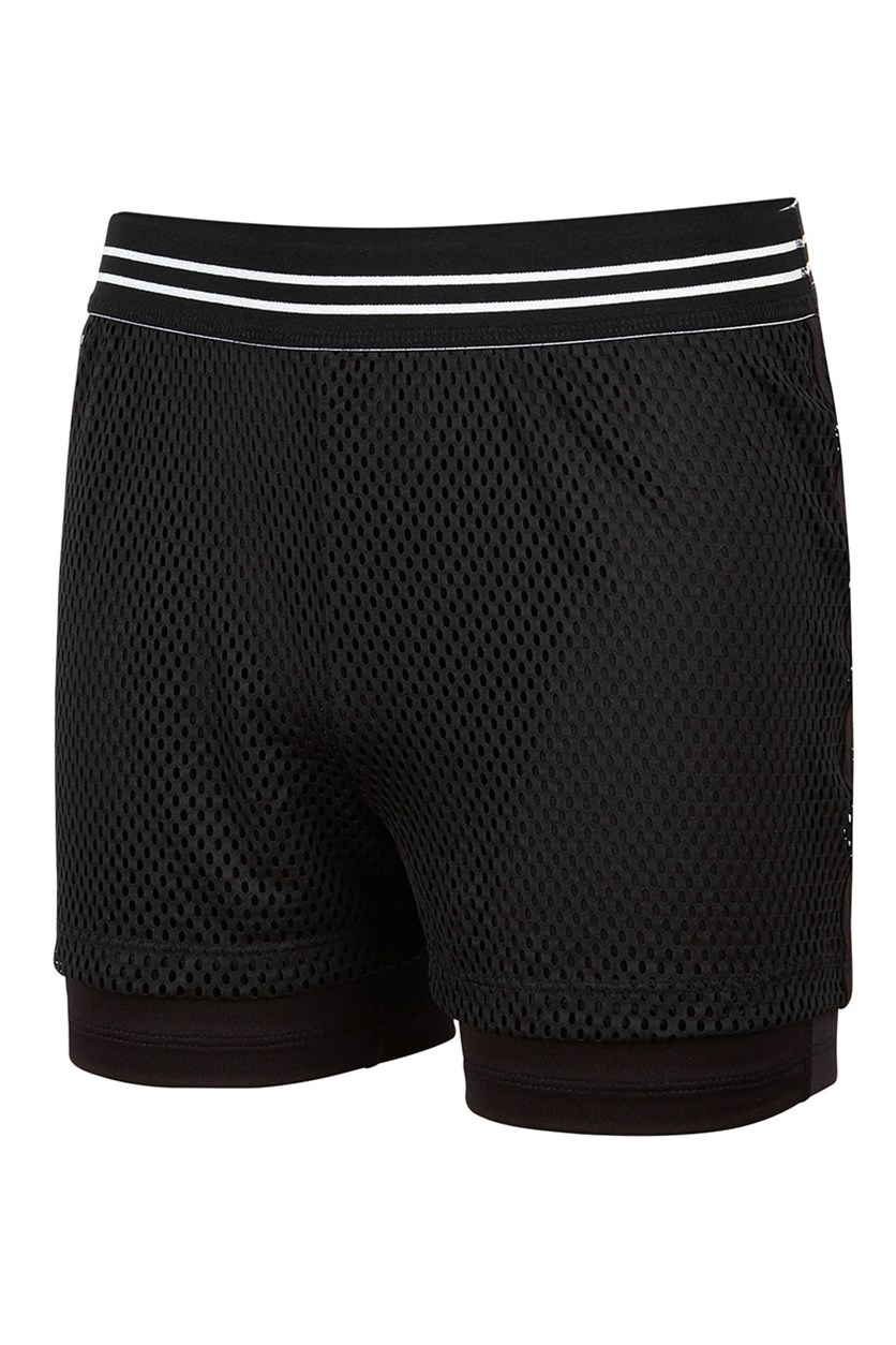 Toddler Girls Mesh Shorts, Noir