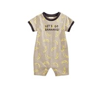 First Impressions Baby Boy Banana-Print Cotton Romper, Grey Taupe Heather