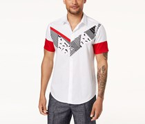 International Concepts Mens Pieced Graphic-Print Shirt, White