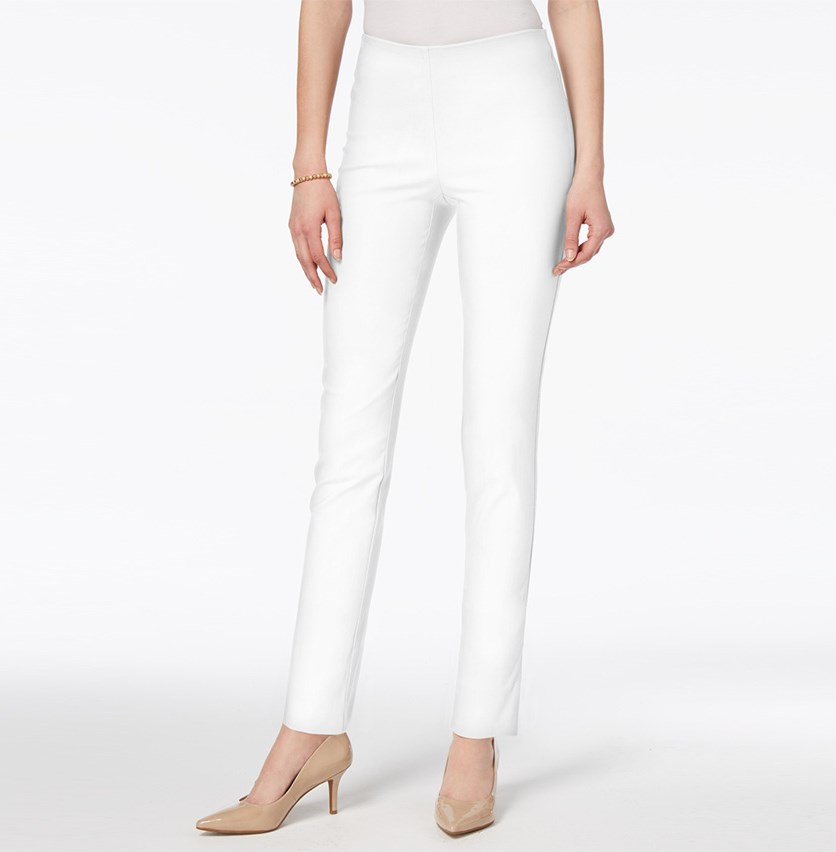 Chelsea Tummy Control Skinny-Leg Ankle Pants, White