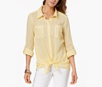 Style Co Tie-Front Shirt, Yellow Breeze