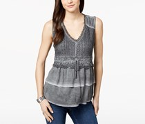 Style & Co Petite Lace Tiered Top, Grey Wash