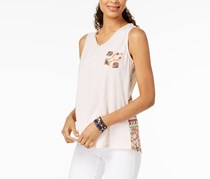 Style & Co Women's Petite Cotton Printed Crochet Back Top, Wash Pink