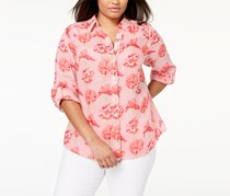 Charter Club Plus Size Linen Floral-Print Shirt,  Coral Breeze Combo