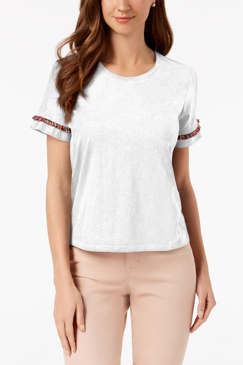 Style Co Fringe Crew-Neck T-Shirt, Bright White