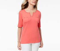 Cotton Spit-Neck Studded Top, Peony Coral