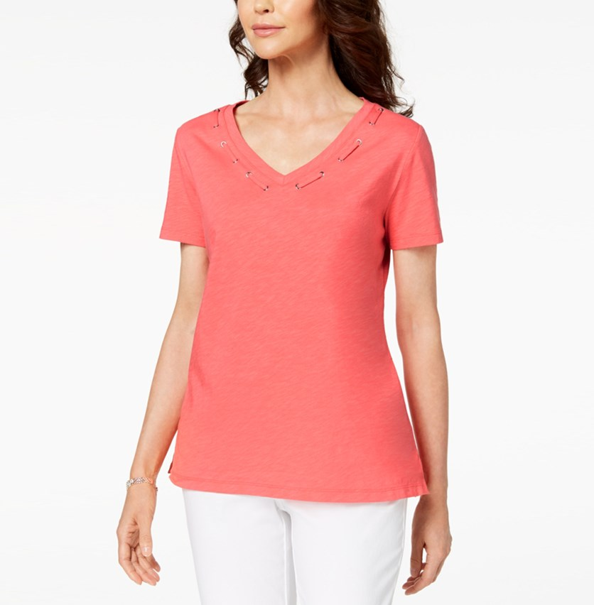 Cotton Grommet-Detail Top, Peony Coral