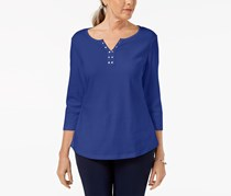 Karen Scott Cotton Stud-Embellished Top, Ultra Blue