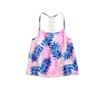 Epic Threads Big Girls Lace-Strap Leaf-Print Tank Top, Bright White
