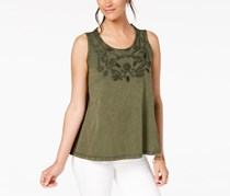 Style & Co Petite Cotton Soutache Swing Top, Oliva Soutash