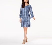 Style & Co Printed Bell-Sleeve Peasant Dress, Blue Cornerstone