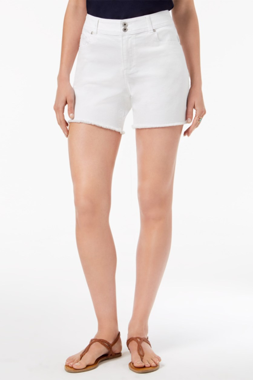 Petite Frayed-Hem Double-Button Shorts, Bright White