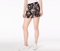 Bar III Floral-Print Pleated Shorts, Black