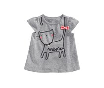 First Impressions Baby Girls Graphic Cotton T-Shirt, Pewter Heather