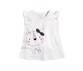 First Impressions Graphic-Print Cotton Top, Snow Heather