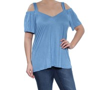 INC Womens Cold Shoulder Top, Chambray Blue
