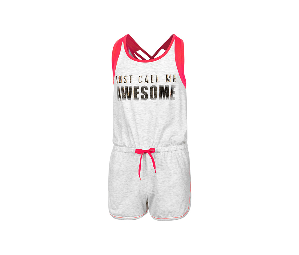 Ideology Mesh-Trim Romper, Bright White Heather
