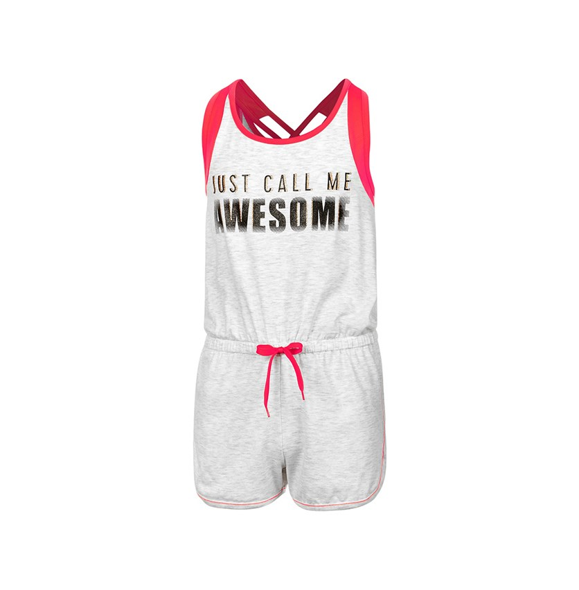 Mesh-Trim Romper, Bright White Heather