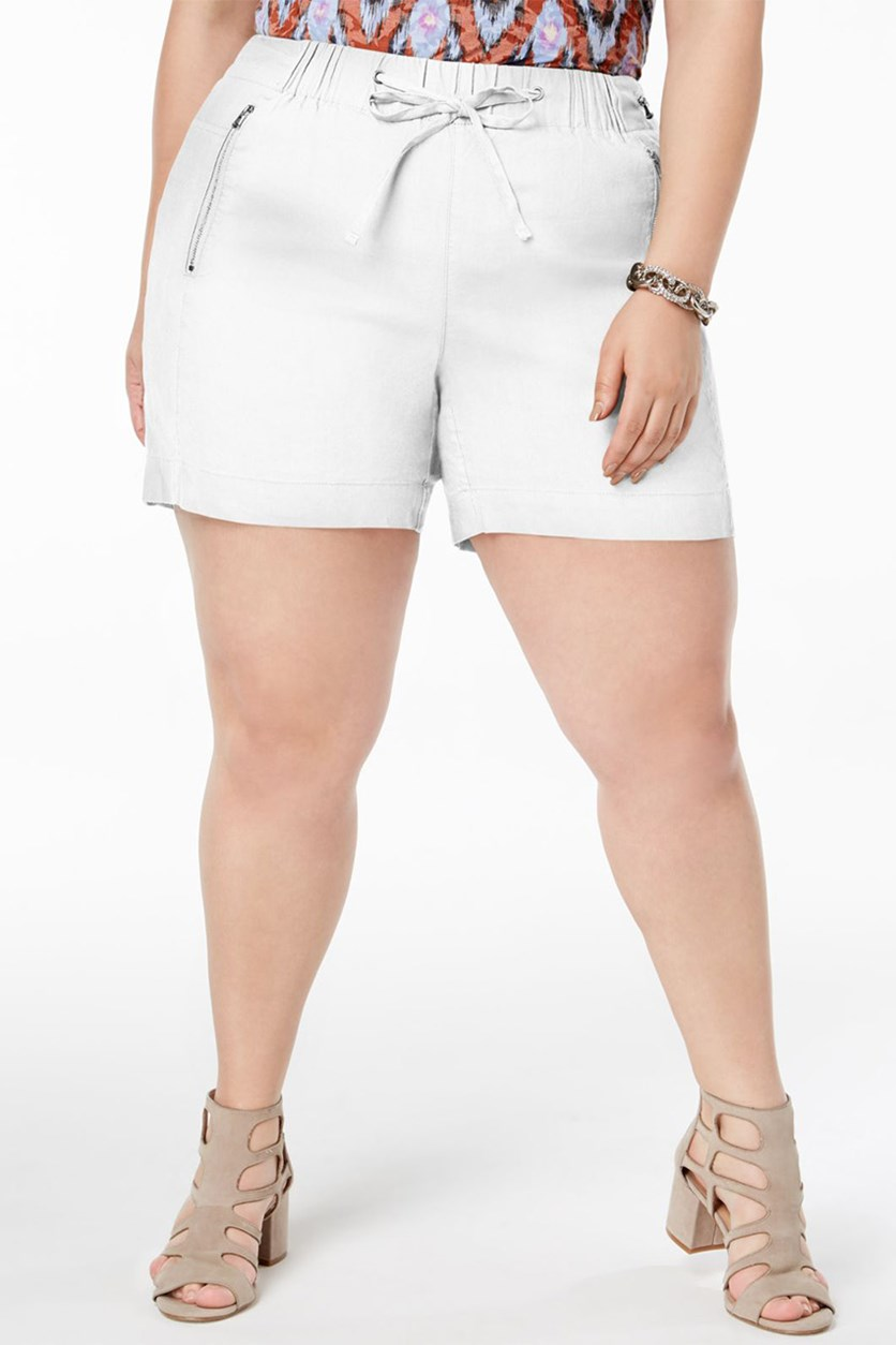 Women's Plus Size Drawstring Shorts, White