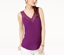 INC Contrast Sheer-Trim Top,  Purple Paradise