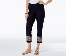Charter Club Tummy-Control Embroidered Capri Pants, Deepest Navy