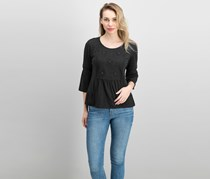 Style & Co Women's Embroidered Top, Black Diamond