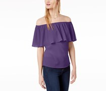 Bar III Women's Ruffled Off-The-Shoulder Top,  Purple