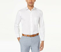 Club Room Men's Classic/Regular Fit Performance Stretch Pinpoint Solid Dress Shirt, White