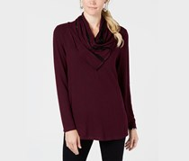 Style & Co Draped-Neck Top, Plum