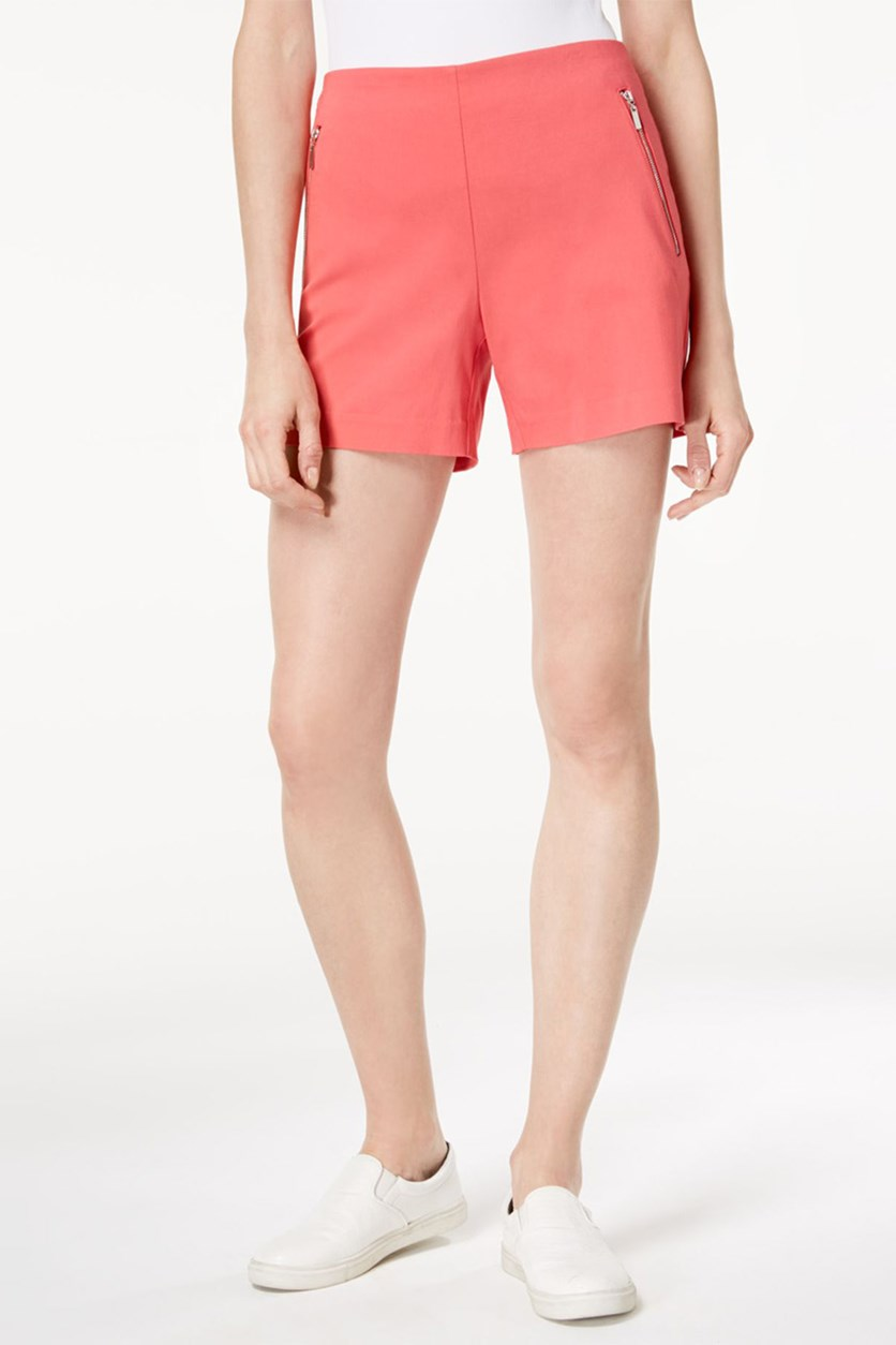 International Concepts Zip-Pocket Shorts, Polished Coral